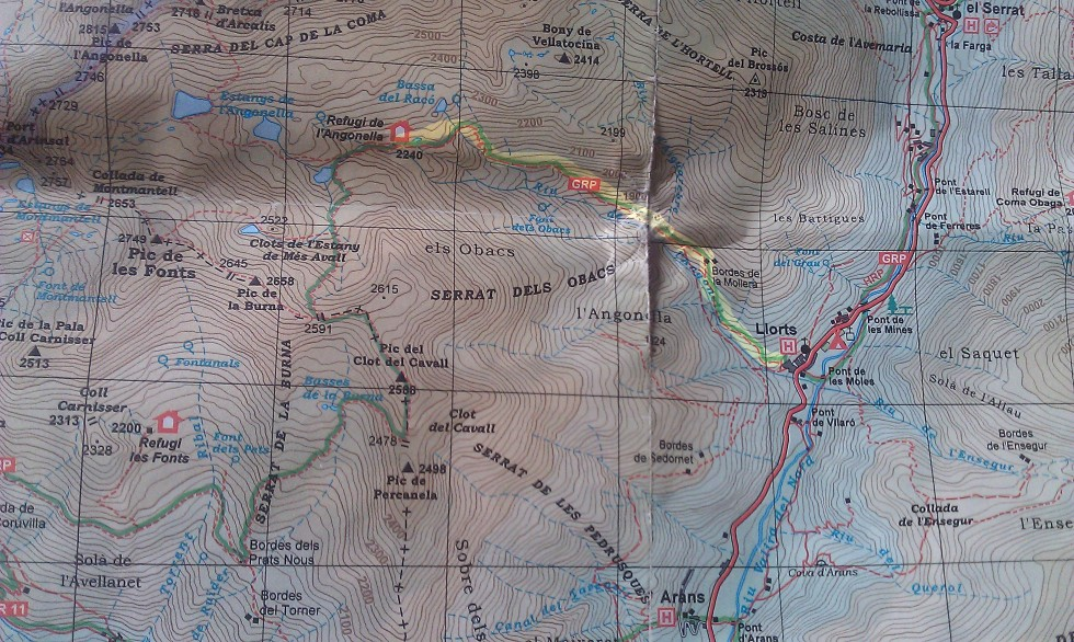 Mapa acceso refugio de l'Angonella en Andorra