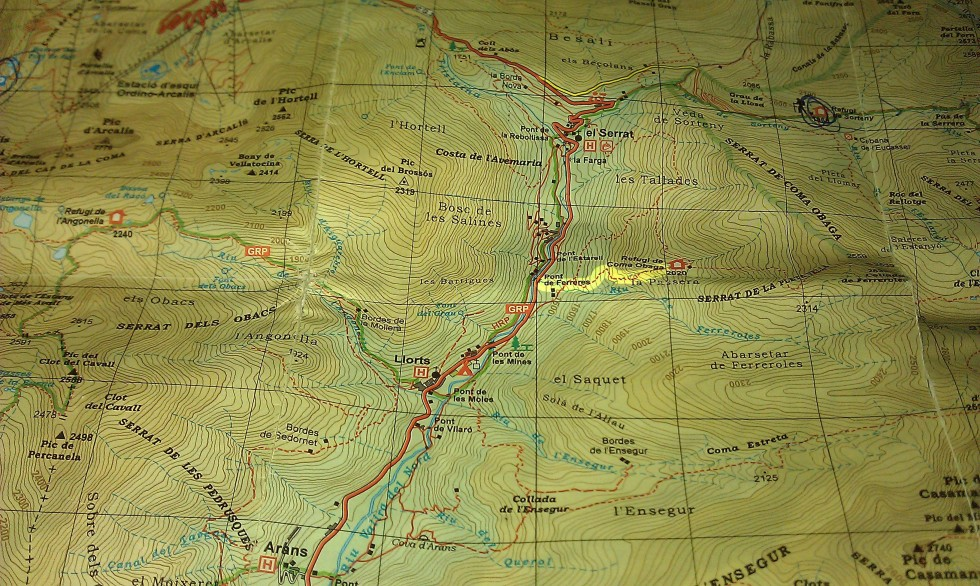 Mapa acceso refugio de Coma Obaga