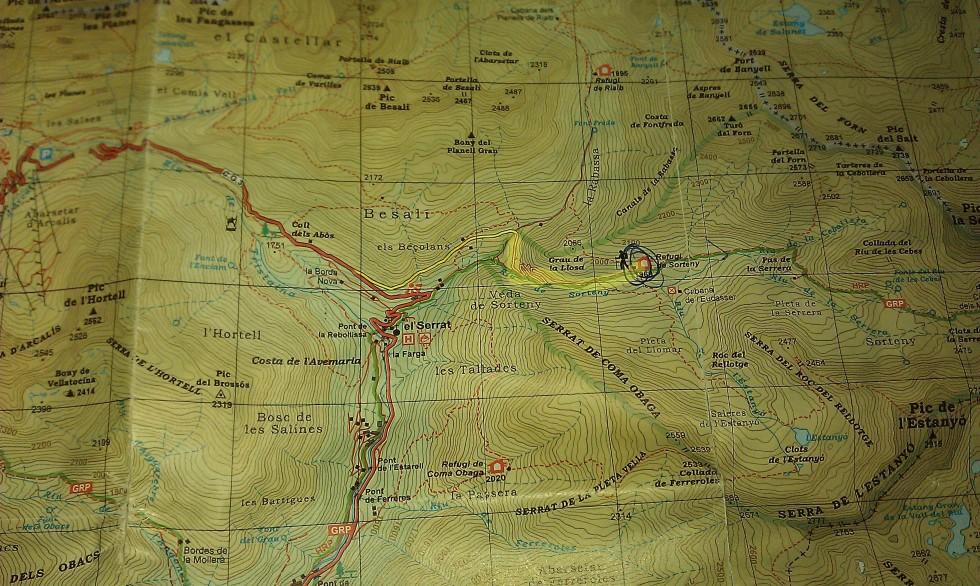 Mapa ruta a Refugio de sorteny